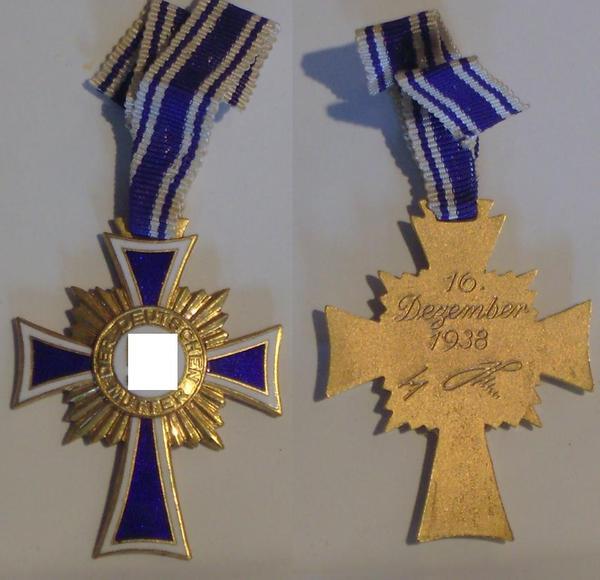 1172 mutterkreuz in gold 1938 band sehr guter zustand blitzversand in hamburg sonstige. Black Bedroom Furniture Sets. Home Design Ideas