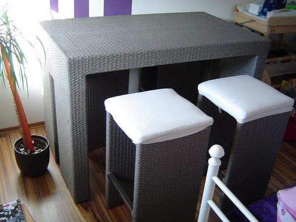4 sitzgruppe mit tisch aus rattan platzsparend in for Esstisch platzsparend
