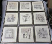 9 Kunstdrucke ( Radierung )