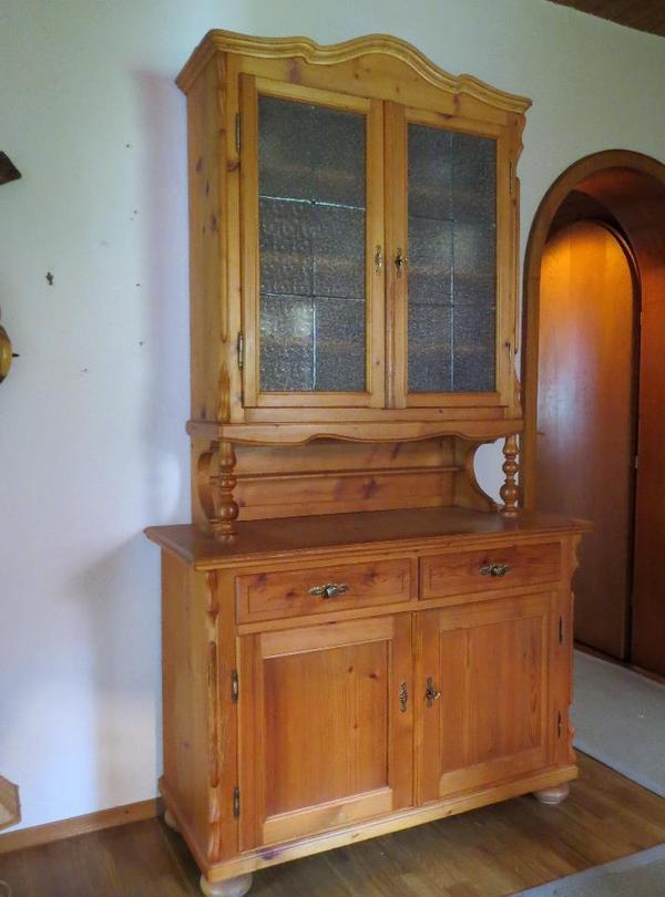 altes buffet mit antikem glas bleiverglasung seitlich holz etwas besch digt siehe fotos. Black Bedroom Furniture Sets. Home Design Ideas