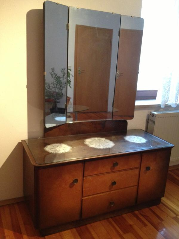 antike spiegelkommode wurzelholz 50er jahre rarit t in. Black Bedroom Furniture Sets. Home Design Ideas