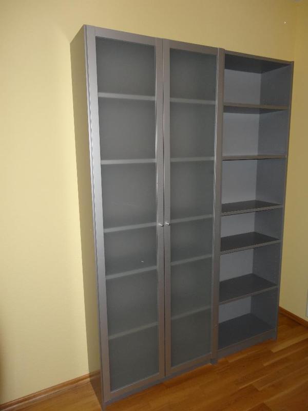ich biete zwei gut erhaltene billy b cherregale in silber matt erstes regal 202 x28 x80 cm. Black Bedroom Furniture Sets. Home Design Ideas