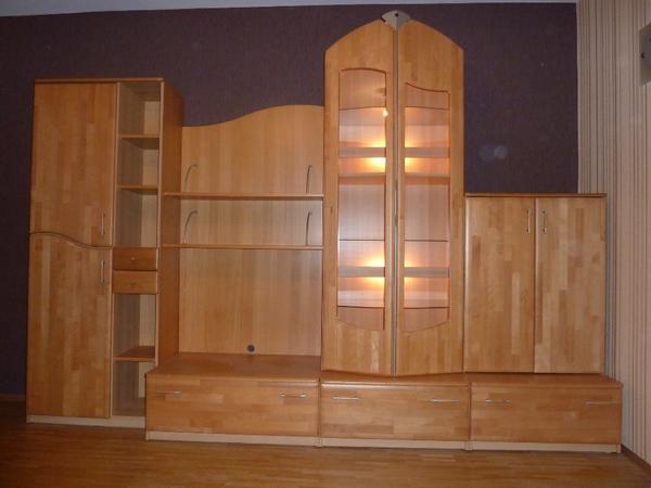 Buche wohnwand mit beleuchtung und tisch oval top zustand for Wohnwand 4 meter