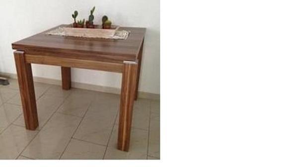 Tisch esstisch massiv nussbaum 90x90 aufklappbar auf for Esstisch klappbar speisezimmer