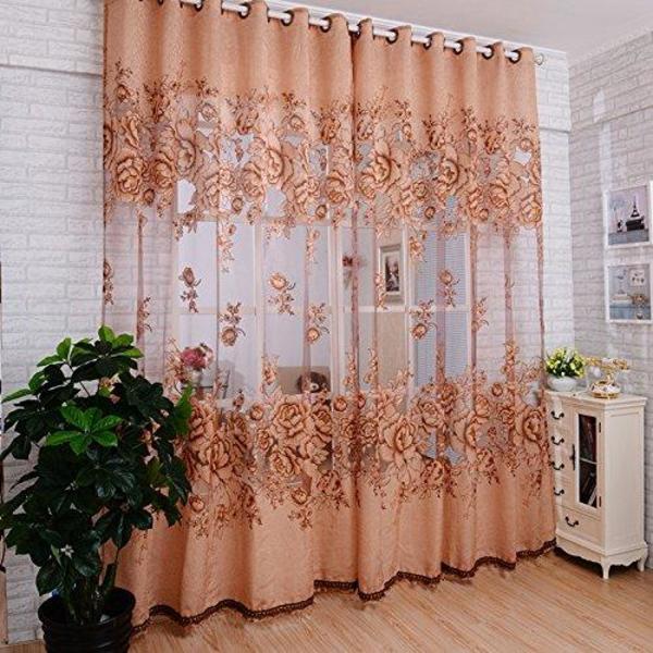 neu 100 nagelneu und hohe qualit t volants hochwertige mordern zimmer floral t ll t r fenster. Black Bedroom Furniture Sets. Home Design Ideas
