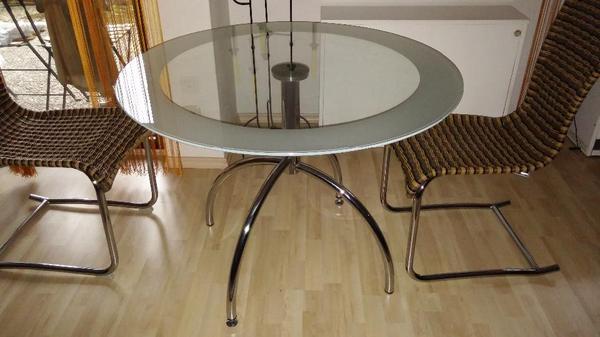 Glastisch esstisch rund 110 cm von tempered in trier for Designer glastisch rund