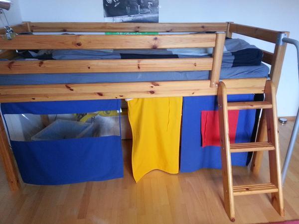 hochbett flexa classic spielbett mit leiter natur lackiert in mannheim kinder jugendzimmer. Black Bedroom Furniture Sets. Home Design Ideas