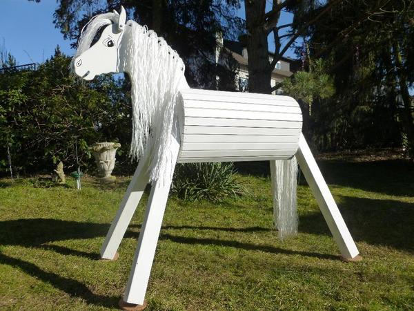 holzpferd holzpony voltigierpferd spielpferd pferd pony 100 cm lasiert neu in roth pferde. Black Bedroom Furniture Sets. Home Design Ideas