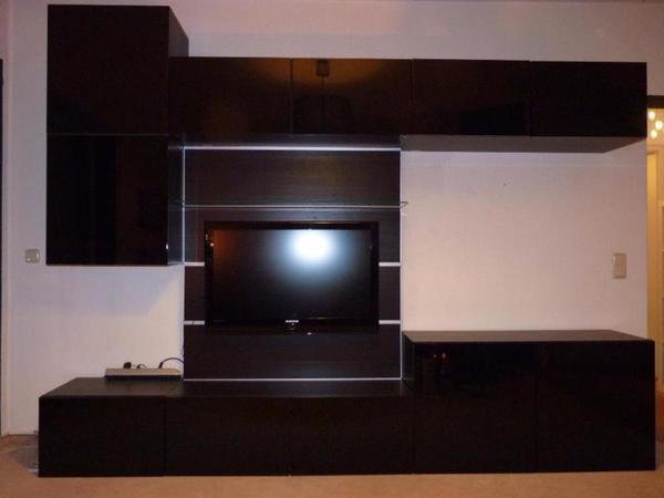 ikea besta wohnwand in schwarzem lack tv wand in. Black Bedroom Furniture Sets. Home Design Ideas