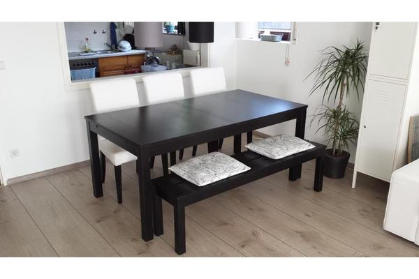 ikea bjursta esstisch braunschwarz 175x95cm 3 st hle bank in hirschberg ikea m bel kaufen. Black Bedroom Furniture Sets. Home Design Ideas