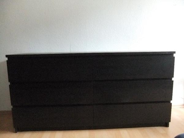ikea malm kommode schwarz mit 6 schubladen in neckargem nd. Black Bedroom Furniture Sets. Home Design Ideas