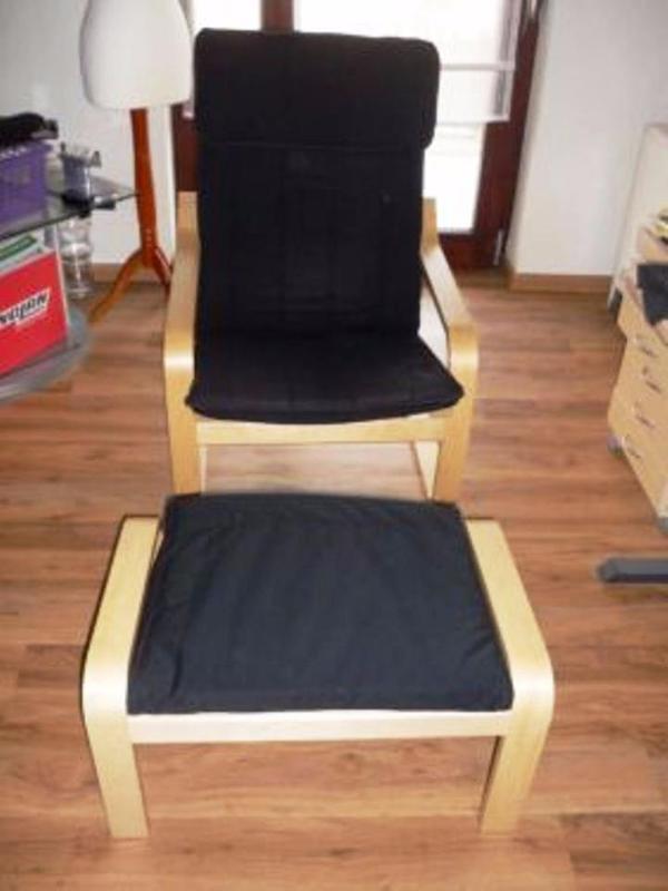 verkaufe hier einen schwing sessel von ikea po ng birkenfurnier polster ist schwarz der. Black Bedroom Furniture Sets. Home Design Ideas