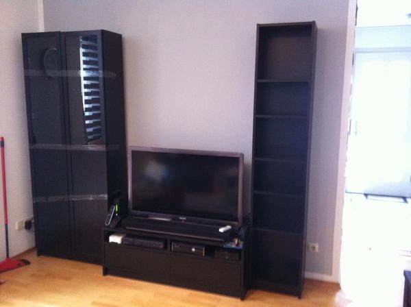 Das angebot beinhaltet 1 vitrine mit glaseinsatz 1 tv for Wohnwand braun schwarz