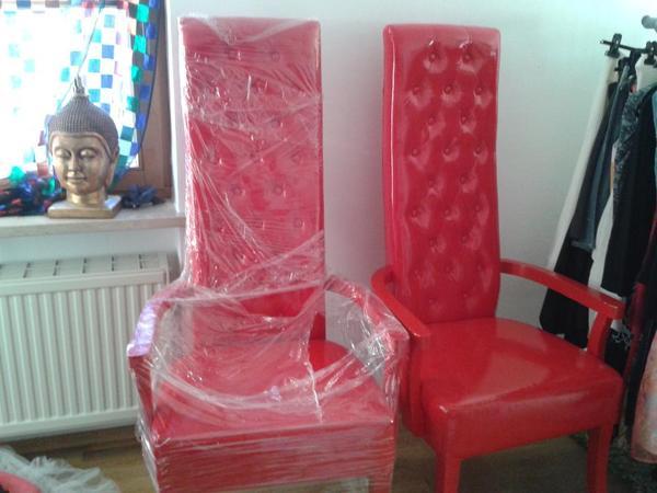 KARE Design Stuhl Sessel Domina Rosso Rot Lack Leder Optik .