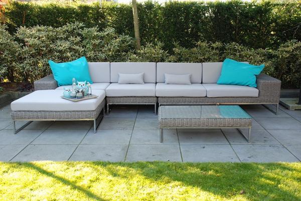 loungeset garten rattan edelstahl set sitzgruppe rund flechten grau in eindhoven gartenm bel. Black Bedroom Furniture Sets. Home Design Ideas