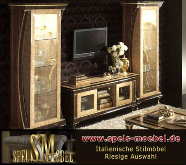 luxus m bel wohnwand wohnzimmer rossini italienische klassische stilm bel in hamburg. Black Bedroom Furniture Sets. Home Design Ideas