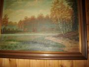 Ölbild mit Holzrahmen