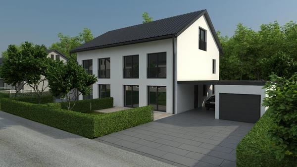 sch ne moderne doppelhaush lfte in burghausen als erweitertes rohbauhaus doppelh user kaufen. Black Bedroom Furniture Sets. Home Design Ideas