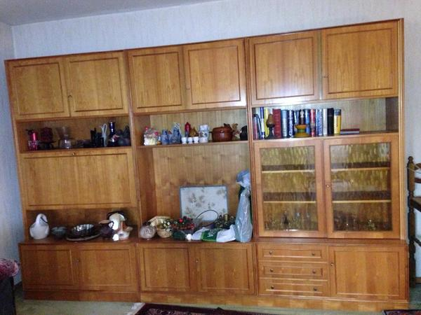 wohnzimmerschrank holz kirschbaum mit bar glasvitrine tv schrank f r 200 in leimen. Black Bedroom Furniture Sets. Home Design Ideas