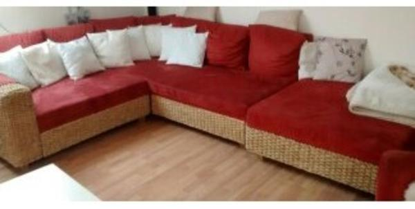 Alcantara Rattan Big Polster Sessel Couch With Big Sofa Rot