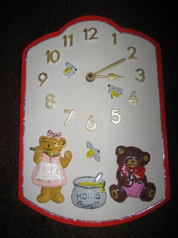 Bären - Wanduhr für Küche oder Kinderzimmer, Porzellan Uhr in ...