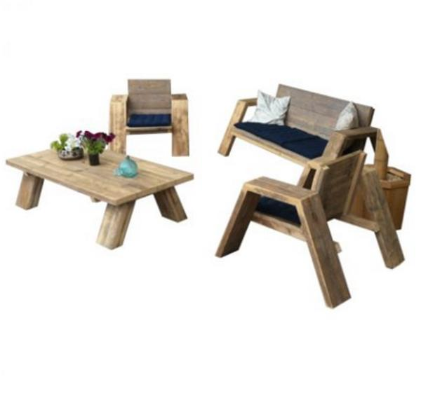 Bauholz Lounge Set \'Texel\' - Loungeset - Gastronomie set in Bedum ...