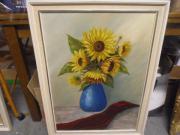 BILD - ÖLBILD Gemälde Blumenstillleben Sonnenblumen