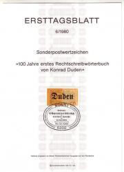 Briefmarken Ersttagsblätter BRD 1980 komplett