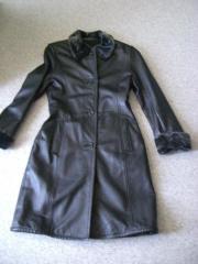 Damenbekleidung Mantel Kunstleder schwarz Gr