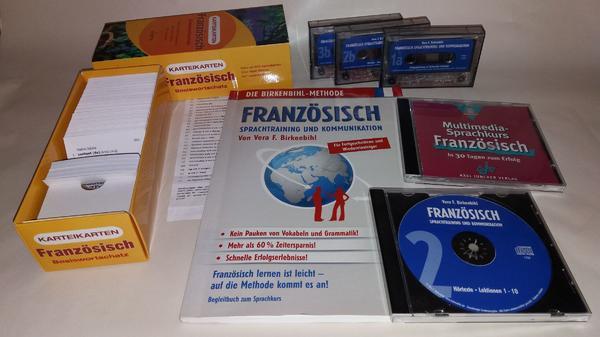 Französisch Sprachtraining und Kommunikation von Vera F. Birkenbihl - Nürnberg Katzwang - alles sehr gut erhaltenes Material,es sind CD`s und Kasetten sowie Karteikarten im Umfang enthalten,das Begleitbuch und die Karteikarten sind sauber, ohne Eintragungen, - Nürnberg Katzwang
