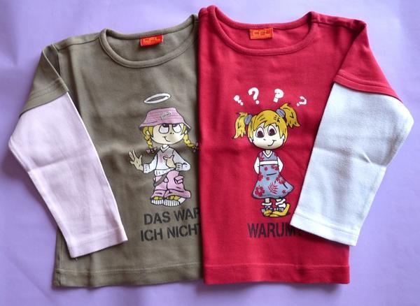 Freches Duo: CFL Sprüche-Sweatshirts Gr 92/98 im Set für nur 3EUR! - Güglingen - Zu verkaufen ist ein cooles Doppel im 2 in 1 look: - DAS WAR ICH NICHT! Khaki farbenes T-Shirt mit rosa Langarm (kl.Kleisterfleck im Bauchbereich rechts-siehe Foto)-WARUM? rotes T-Shirt mit weißem Langarm (kl.Farbfleck am linken Ärmel, Rüc - Güglingen