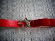 Gürtel rot mit Stern-Schnalle Kunstleder