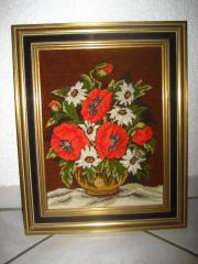 Handgesticktes Gobelin Bild Blumen