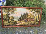 Handgesticktes Landschaftsbild mit Originalrahmen