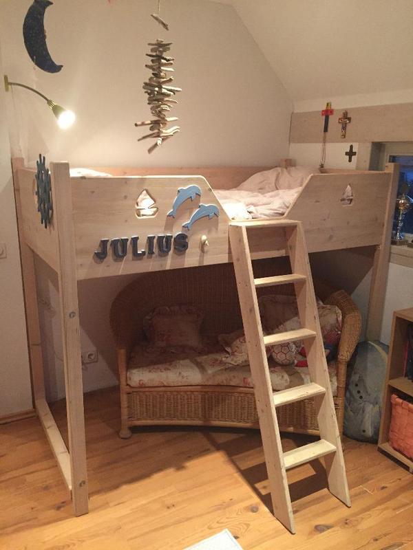 hochbett kinder 185 x 98 inkl latterost und matratze in. Black Bedroom Furniture Sets. Home Design Ideas