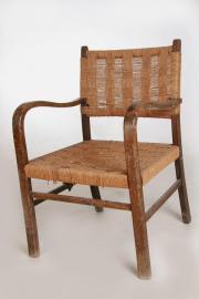 Holzsessel-Weidensessel-Armlehnenstuhl-Holz mit Weidengeflecht