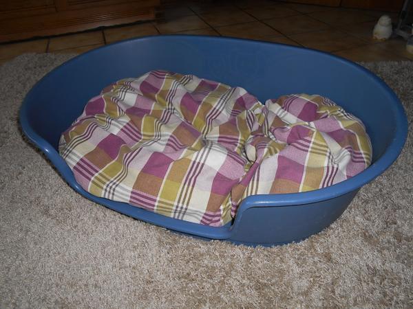 Hundekörbe mit Kissen - Waghäusel - biete 2 Hundekörbe aus Kunststoff der Größe M (ca. 90X60)Farbe blau und antrazit mit Kissen, gut erhalten und nicht verbissen für je 15.-Euro - Waghäusel