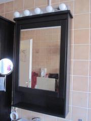 Spiegelschrank mit beleuchtung ikea  Ikea 'HEMNES' Spiegelschrank schwarzbraun + 'LEDSJÖ' Lampe in ...