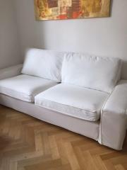 Ikea Kivik 3-er Sofa mit Hocker in WEISS! in München - Polster ... | {Sessel ikea weiß 65}