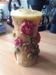 Kerze alt Rosenmotive Handarbeit