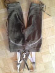 Kniebundlederhose mit Träger hellbraun von