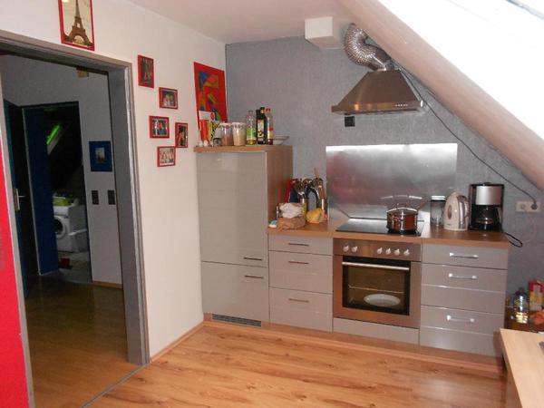 Küche (Modulküche, flexibel stellbar) silber-grau-glanz in ...