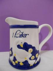 Milch- Keramik-Krug mit Gänse-Motiv 1