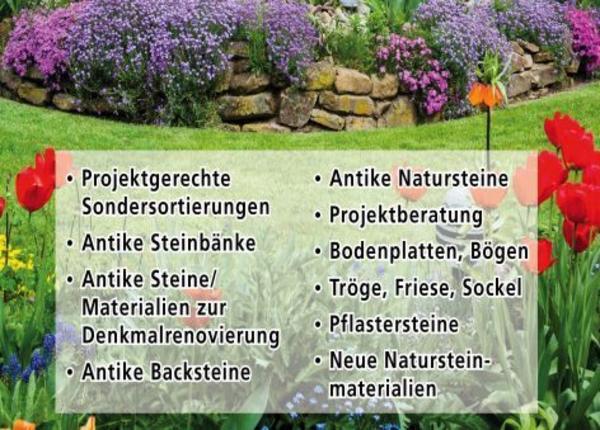 Naturstein Garten Antike Trockenmauer Hochbeet Rasenkante Mauer