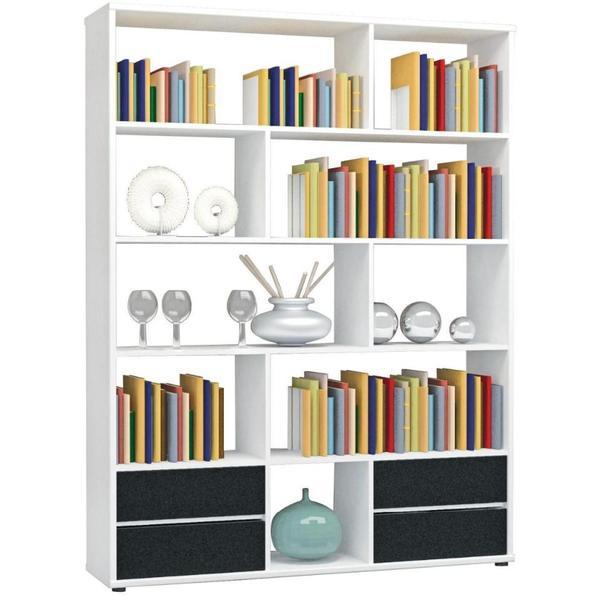 treppenregal wei 6 f cher raumteiler stufenregal b cherregal raumtrenner aktenregal. Black Bedroom Furniture Sets. Home Design Ideas