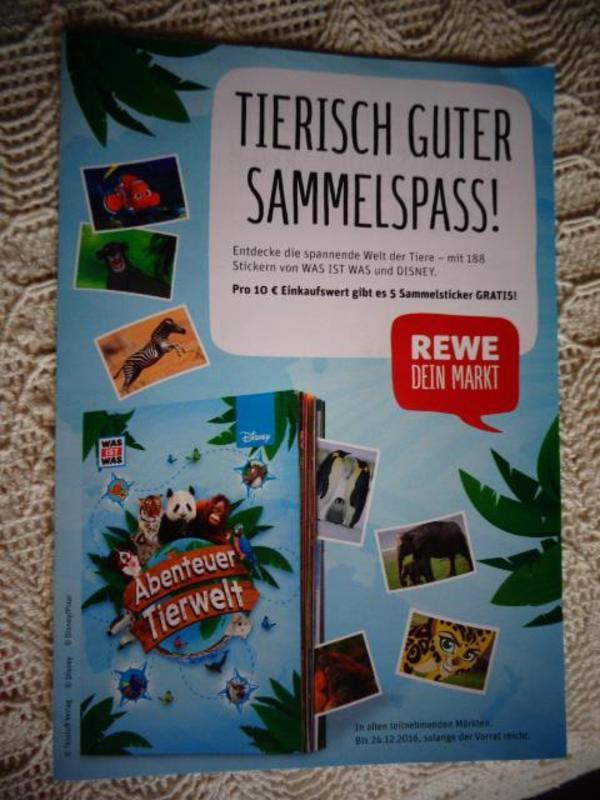REWE Sammelsticker Abenteuer Tierwelt Disney