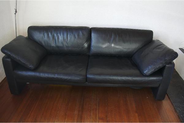 rolf benz ego schwarzes design sofa echt leder schwarz in reutlingen designerm bel. Black Bedroom Furniture Sets. Home Design Ideas