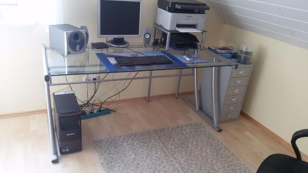schreibtisch gla gebraucht kaufen 2 st bis 65 g nstiger. Black Bedroom Furniture Sets. Home Design Ideas
