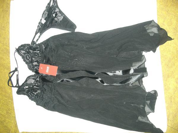 schwarzes Negligee - Babydoll - Nachthemdchen mit