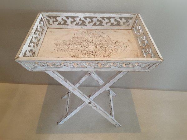 Shabby Chic Tablett-Tisch - A-6912 Hörbranz - Wunderschöner Shabby Chic Tablett-Tisch handbemalt mit aufwendigen Verzierungen, abnehmbares Tablett, 55x40x10 cm, Höhe 68 cm - A-6912 Hörbranz